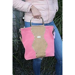 Brombeer/Beige Lederhandtasche Umhängetasche Damenhandtasche Crossover mit Metallgriffen