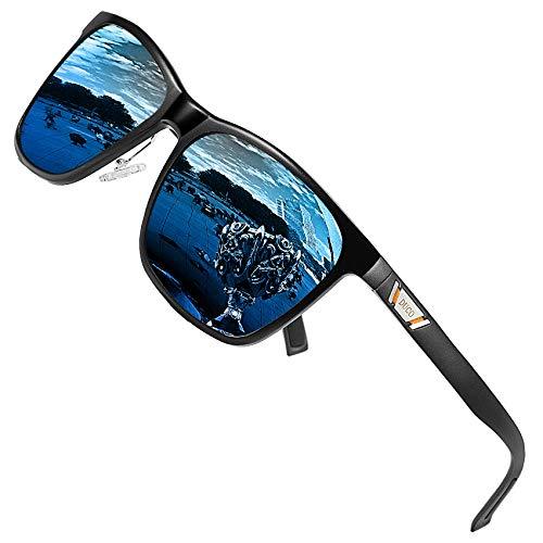 DUCO Metall Sonnenbrille Eckig Unisex Polarisierte Sonnenbrille mit UV400 Schutz für Outdoor Sports 3029H (Blau)