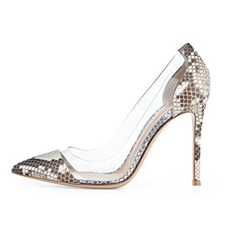 Kolnoo 10CM Damenschuhe Pumps Bequeme Lack Stilettos Transparent Schuhe Python