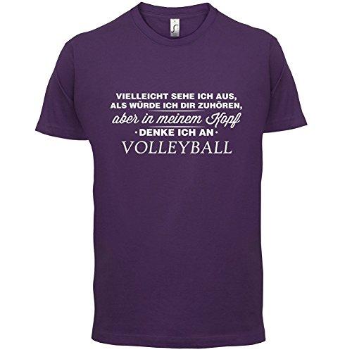 Vielleicht sehe ich aus als würde ich dir zuhören aber in meinem Kopf denke ich an Volleyball - Herren T-Shirt - 13 Farben Lila
