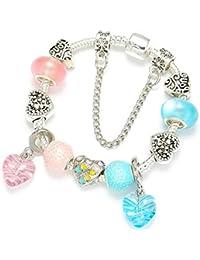 4ce44515479c GSYDSZ Venta Amor Corazón Colgante DIY Charm Pulsera para Las Mujeres Azul  y Rosa Crystal Fine