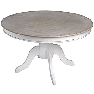 TABLE RONDE BLANC VIEILLI, STYLE SHABBY CHIC (HAMPTON H14725)