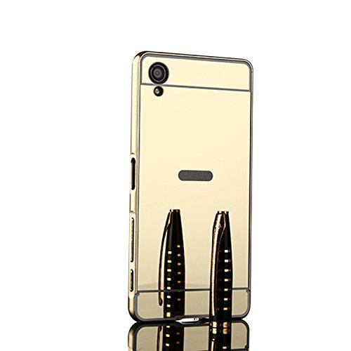 Spiegel Hülle Mirror Case TPU Schutzhülle Silikon Handyhülle Tasche Case Cover für XA1 Plus, Gold