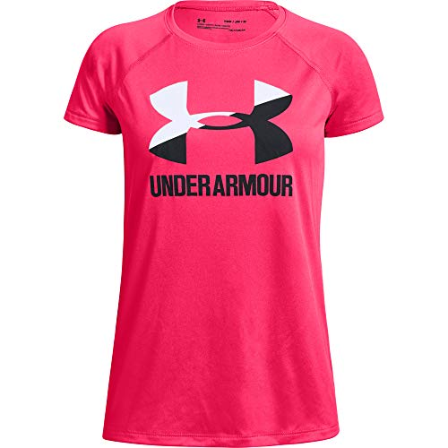 Rosa V-neck Tee (Under Armour Mädchen Big Logo Tee Solid SS Kurzarmshirt, Rosa, YMD)