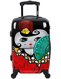 Maleta de cabina Equipaje de mano 55x40x20 Maleta juvenil trolley de viaje Ryanair Easyjet de TOKYOTO LUGGAGE Maleta de viaje Rígida FLAMENCA (Preparada para cargar Móviles)