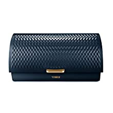 Tower T826090MNB Empire Roll Top Bread Bin, Stainless Steel, Midnight Blue and Brass