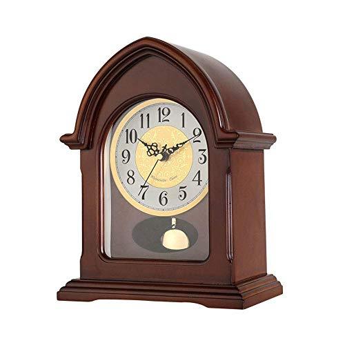 FCZH Kaminuhren aus Holz, Silent Desk Tischuhr Classic Standing Shelf Clocks Antique Non Ticking Holz-Finish Analog Quarzuhren Geschenk, 29 * 22,5 cm (Classic Desk Clock)