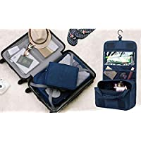 Portable Waterproof Cosmetic Makeup Toiletry Travel Hanging Organizer Storage Bag Pouch - Navy Blue