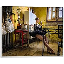 "Imagen en vidrio: Suzanne Trottier ""Café Allongé"", mural de alta calidad, magnífica impresión de arte sobre auténtico vidrio, 60x40 cm"
