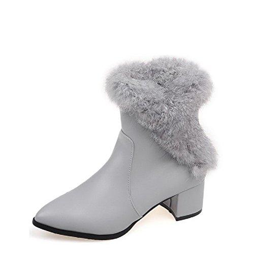 AgooLar Damen Mittler Absatz Weiches Material Niedrig-Spitze Rein Reißverschluss Stiefel Grau