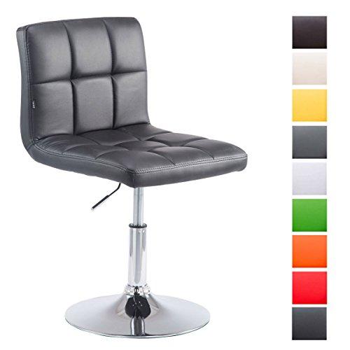 CLP Taburete Bajo Palma V2 Tapizado en Cuero Sintético I Silla Lounge Regulable en Altura & Giratoria I Taburete Moderno Acolchado I Color: Negro