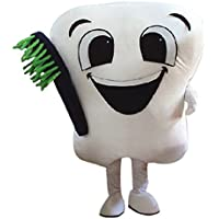 Bianco dente mascotte costume cartoon halloween party dress taglia