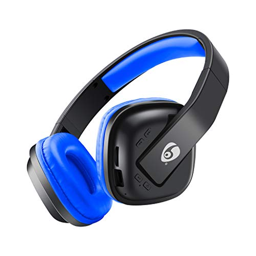 Kopfhörer mit Geräuschunterdrückung Bluetooth 5.0 Drahtlose Kopfhörer Subwoofer Wireless Bluetooth Headset Musik TF-Karte Noise Cancelling Stereo(Blau)
