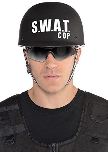 Erwachsene Größe Schwarz SWAT Helm (Kostüm Swat Box)