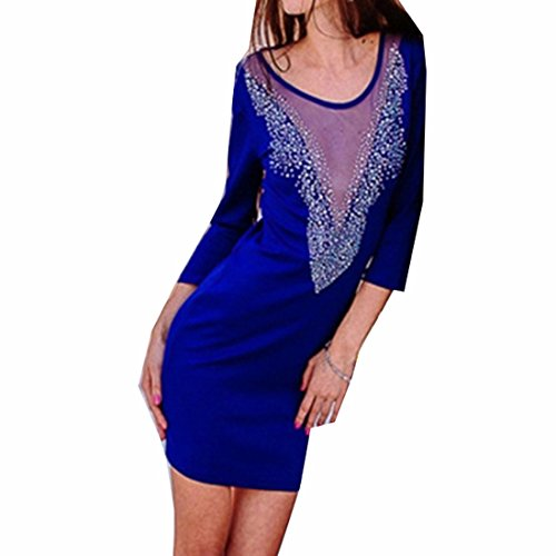 QIYUN.Z Lady Blue/Red Slim Strass See-through Col Manches Longues Backless Bleu