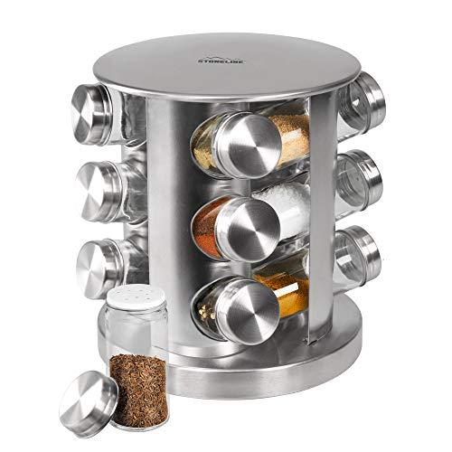 STONELINE 16968  Gewürzregal mit 12 Glasflaschen Kochgeschirr, edelstahl optik