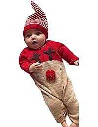 Mameluco Mono Pijamas bebé recién Nacido de 6-24 Meses,Pijamas Mono Conjuntos bebé Niño Niña Otoño/Invierno Navidad Rayas Navidad elk Mono + Sombrero Ropa de bebé Yesmile