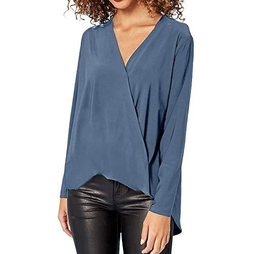 Camiseta blusa con cuello en V de manga larga para mujer Luckycat (Cielo Azul, 2XL-large)