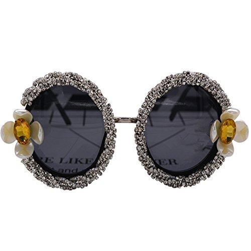 Retro Sonnenbrille Brille, Asnlove Modische Unisex Spiegel Runde Dekorative Schwarzen Rahmen Sonnenbrillen, Strand Sonnenbrille, UV-Schutz, Schutzbrille Bling Glitzer Strass Diamant und Blume