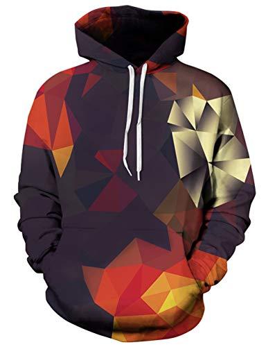 Loveternal 3D Druck Hoodie Bunte Unisex Geometric Kapuzenpullover Langarm Sweatshirts für Herren und Damen L/XL