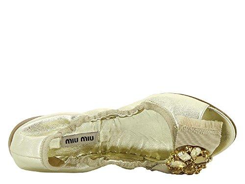 Ballerine spuntate Miu Miu donna in nappa color oro - Codice modello: 5FK026 XWU F0846 Oro
