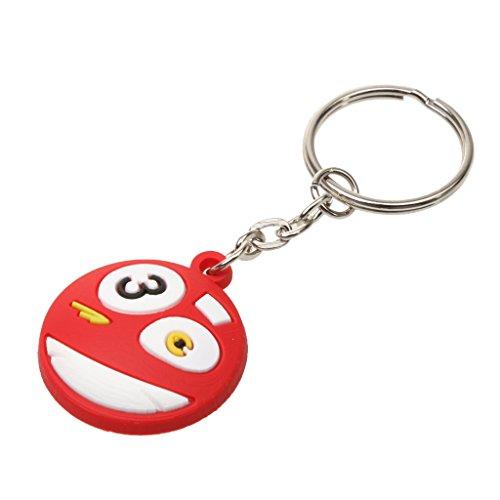 Generic Gummi Billardkugel Schlüsselanhänger mit Schlüsselring, Süßes lächelndes Gesicht - Rot 3
