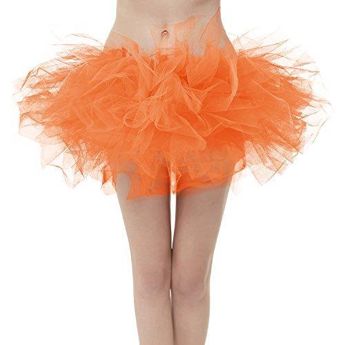 GirstunmBrand Damen 50er Mini Tüll Tutu Puffy Ballett Bubble Rock Orange-Standard Size -