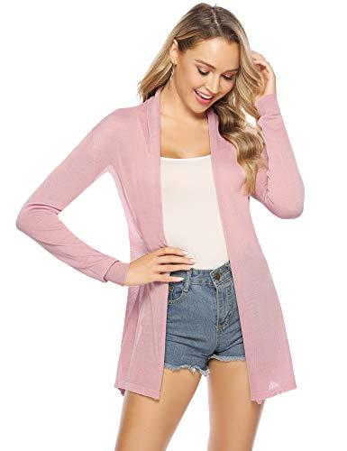 Abollria Damen Dünne Strickjacke Wasserfall Offener Lang Cardigan Leichte Luftige Jacke für Sommer,Rosa,XL