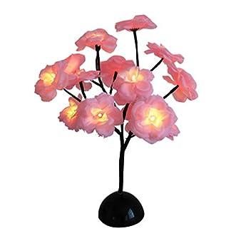 Uonlytech Luz de árbol de Flor de Camelia de 15 Ramas decoración de lámpara de Mesa de Flores con batería para hogar Festival Fiesta Navidad luz Nocturna