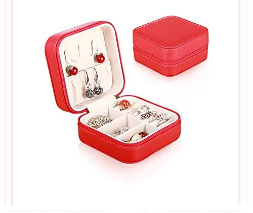 JYXQC Schmuckkästen Aufbewahrungsboxen Leder Design Schmuckschatullen,Red