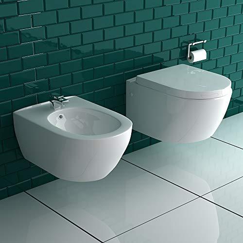 Wandhängendes WC + Bidet aus hochwertigem Sanitärkeramik in Weiß | Set | WC-Sitz mit SoftClose Absenkautomatik | passend zu GEBERIT | Alpenberger Design