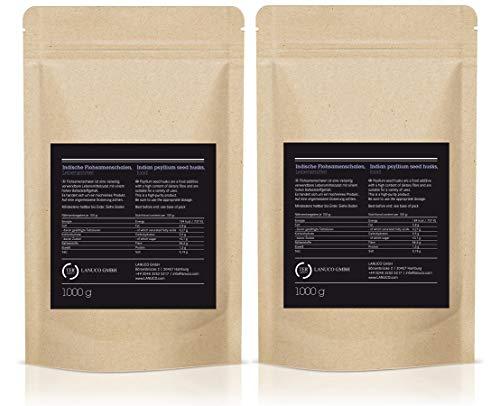 2 x 1 kg Flohsamenschalen – 95% Reinheit, Ballaststoffreich, Premium Qualität, Low-Carb, Glutenfrei, vegan, Superfood, Premium Qualität