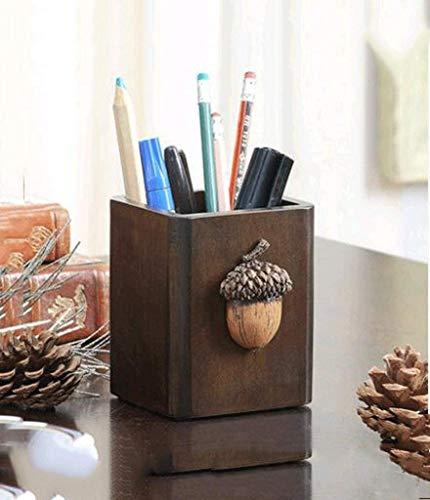 MJSP Retro-Kosmetik-Desktop-Aufbewahrungsbox aus Massivholz,Eichel Stifthalter