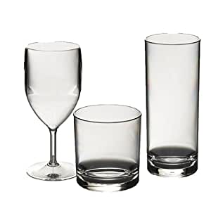 Roltex Special Offer set of Polycarbonate Plastic Unbreakable Reusable Glasses. 6 Large Wine Glasses (315ml) 6 Hiball Glasses(325ml), 6 Rocks / Juice Glasses (275ml)