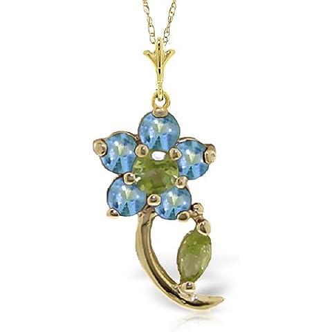 QP joyería Azul Natural topacio y circonitas colgante collar en 9ct oro - 0.87ct 4590Y