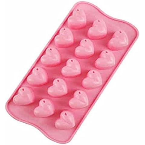 QFF Molde en forma de corazón de la torta del silicón molde del hielo del chocolate molde del día de tarjeta del día de San Valentín DIY