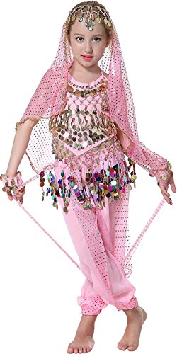 (Seawhisper Mädchen Indische Bauch Tanzkostüm Fasching Kostüme Hose Oberteil für Kinder Pink 134-140-146)