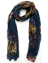 Ladies Large Printed High Fashion Scarf - S77 Floral Print Blue