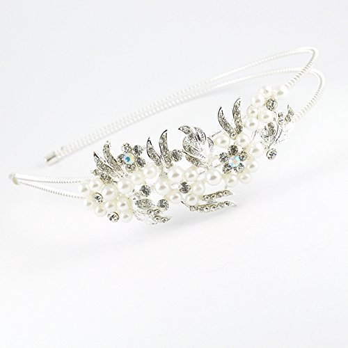 Filles Cristal Autrichien et fausse perle Floral Spray Motif Bandeau/Tiara – (792)