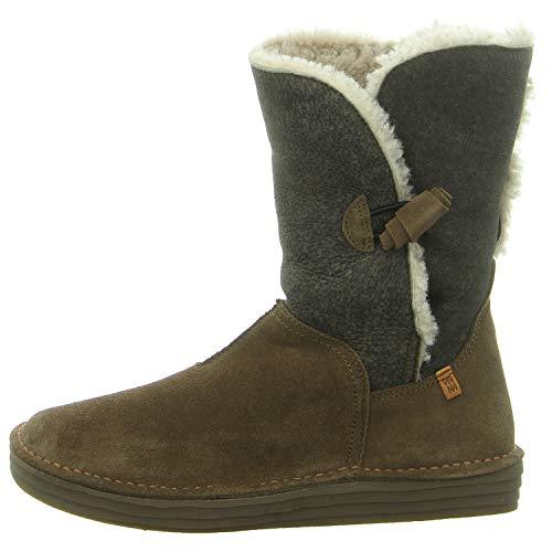 El Naturalista N5055 Rice Field Damen Winterstiefel,Frauen Winter-Boots,Fellboots,Lammfellstiefel,Fellstiefel,gefüttert,warm,KAKI,EU 41