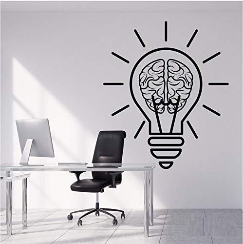 56X65cm Vinyl Wandtattoo Birne Idee Gehirn Motivation Dekor Für Büroraum Aufkleber Abnehmbare Kunstwandgemälde Für Schlafzimmer Wohnzimmer