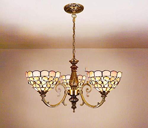 Kronleuchter Tiffany-Stil 8-Zoll-Perle Blume natürlichen Shell Shaded, Bronze Zink-Legierung Lampenfassung Vintage Anhänger Beleuchtung kreative Deckenleuchte, E27,A -