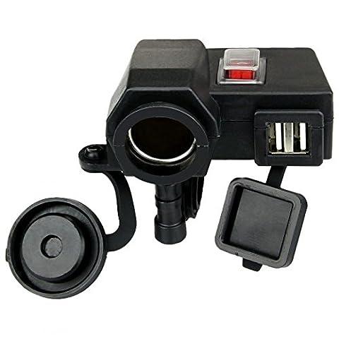 GEREE Imperméable noir double 5V / 2.1A USB de sortie du téléphone GPS de recharge 12V moto Cigarette Plus léger L'intégration Chargeur de prise de courant de port de moto