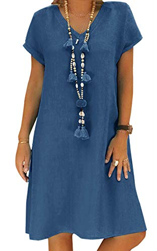 Yidarton Sommerkleid Leinen Kleider Damen V-Ausschnitt Strandkleider Einfarbig A-Linie Kleid Boho Knielang Kleid Ohne Zubehör(Blau,XL)