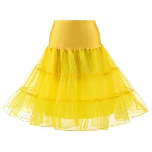 OverDose Damen 1950 Petticoat Reifrock Unterrock Petticoat Underskirt Crinoline für Rockabilly Kleid Karneval Kostüm Kleid Faschingskostüme(A-Yellow ,S) (Tweed-faltenrock)
