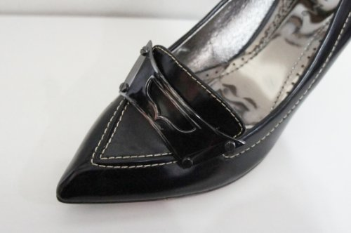 Jet Noir Coutures Bout Pointu Cour Chaussures–Taille 3[Apparel] Noir
