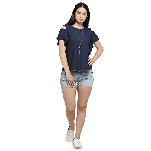 6d6fe7d4217a07 Serein Women s Top (Navy Crepe top with cold shoulder and ruffles) (Medium)