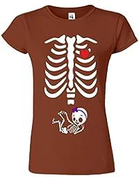 """SNS Online Châtaigne - M - Ajuster: EU 40"""" - Adorable Skeleton Heart Dames T Top T-Shirt"""