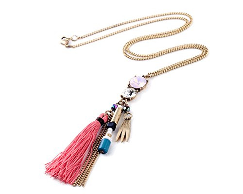 Glitz Fashion Pink Tassel Drop Pendant Long Chain Necklace for Women/Her/Girls/Mother/Sister