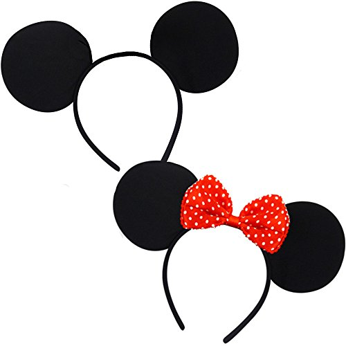 Mickey Und Minnie Kostüm - German Trendseller® - Micky & Minnie Maus Set ┃ Kostüm ┃ Mäuschen und Mäuserich Ohren ┃ Werden Sie zur Maus ✔